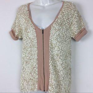J. Crew // sz S merino wool sweater sequins zipper